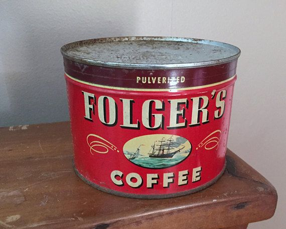 Unopened Folger s Coffee Tin Vintage 1 lb metal Can with Key 1946