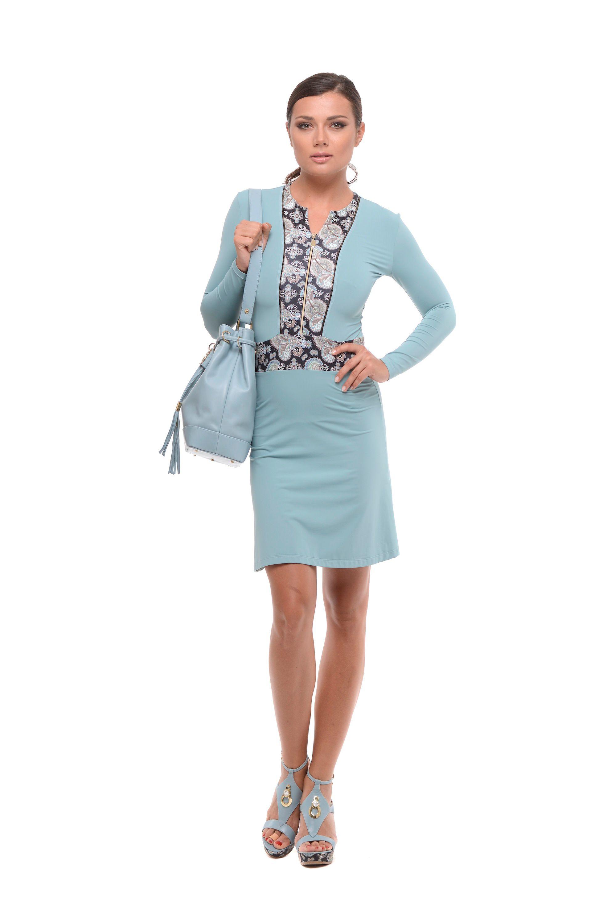 6c63cb0b7cee Krátke šaty na zips modré