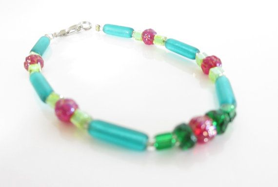 Little Neon Bracelet Aqua and Rose by ThePookiesJewelryBox on Etsy, $10.00