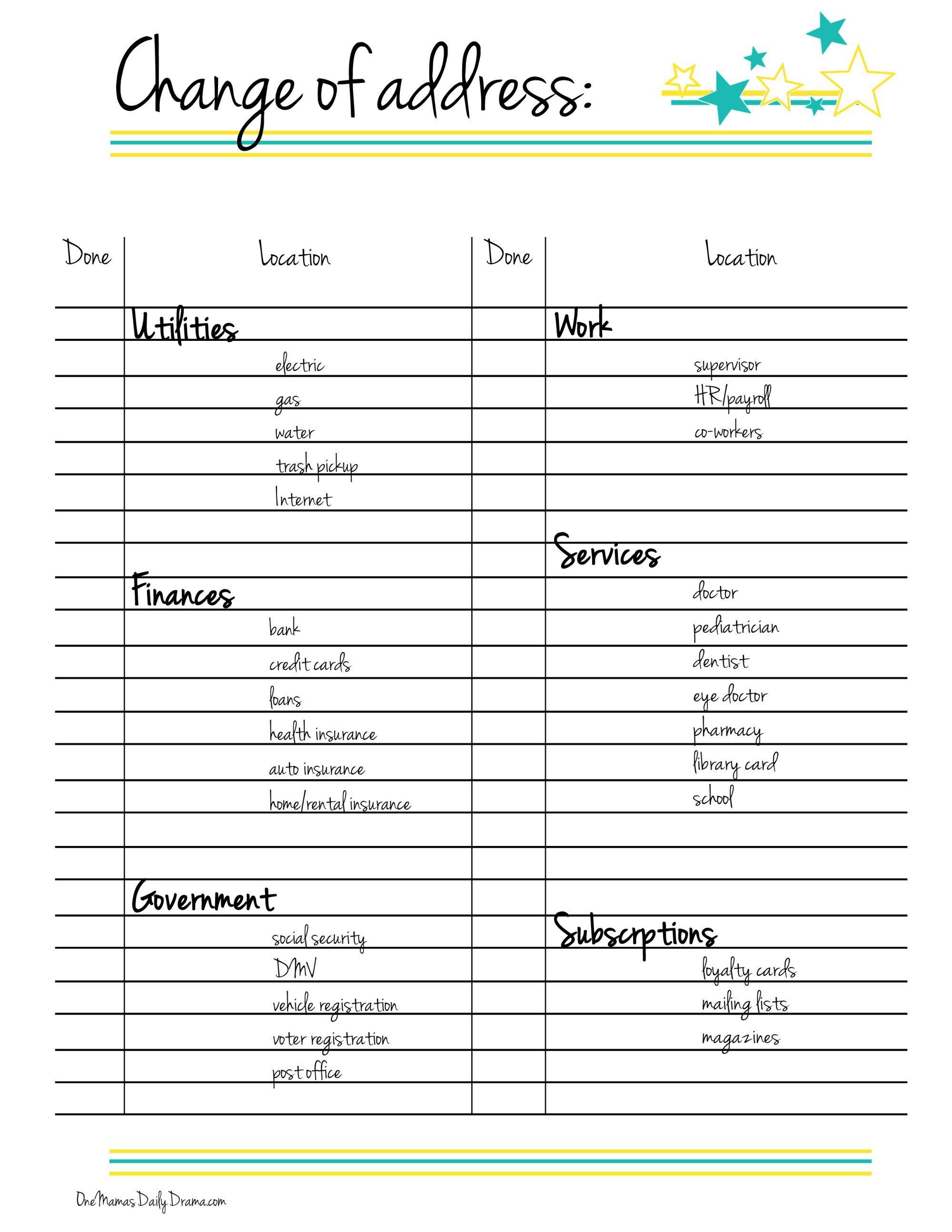 Printable Change Of Address Checklist Change Of Address Moving Checklist Moving Tips
