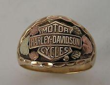 Awesome Vintage Harley Davidson Mens 10K Black Hills Gold Stamper