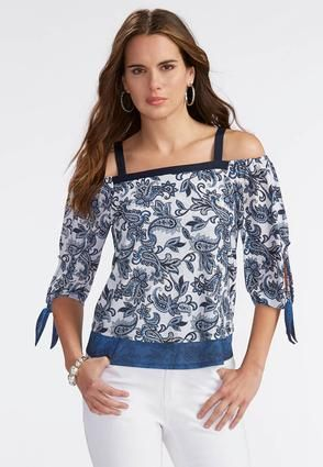 d45098c0b1bbb3 Cato Fashions Paisley Cold Shoulder Layered Top-Plus  CatoFashions ...