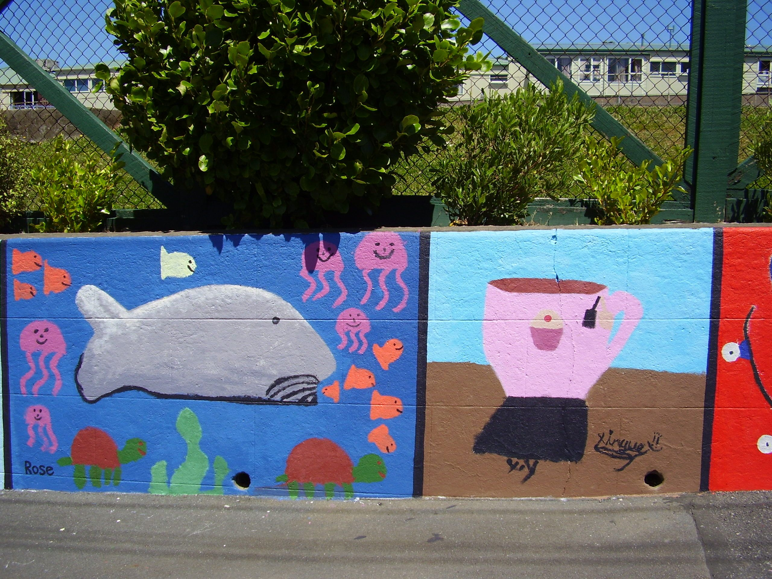 """Part of """"Patch-work"""" Mural, painted by pupils supervised/facilitated by Ellen. Berhampore School, Britomart Street, Berhampore, Wellington."""