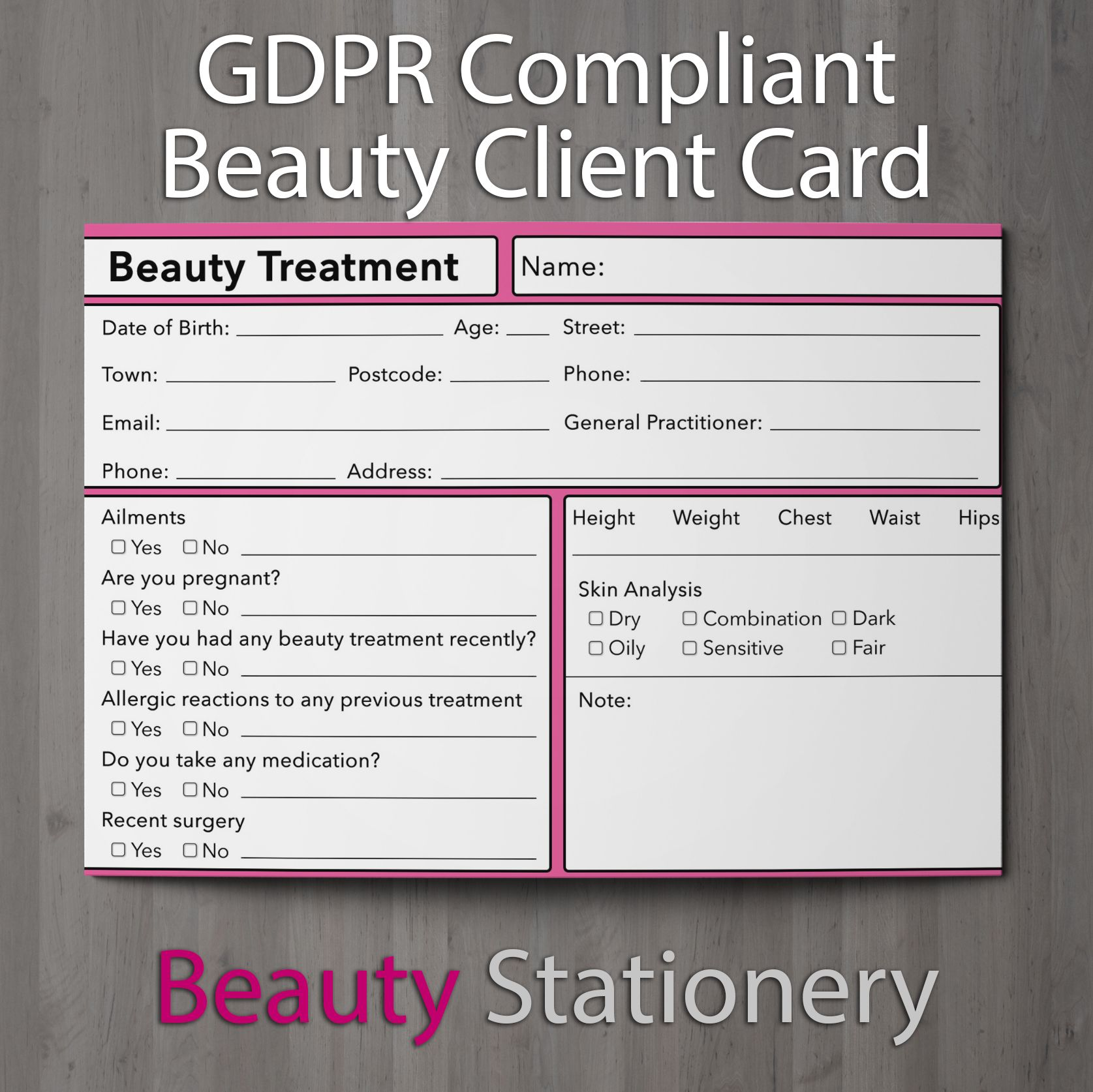 Pin On Gdpr Compliant Beauty Client Card