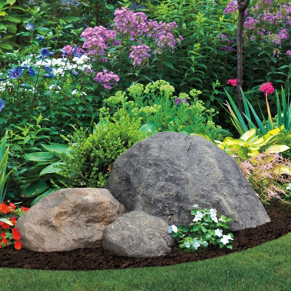 Boulders accents and black mulch decor garden fake rock for Garden landscape pictures