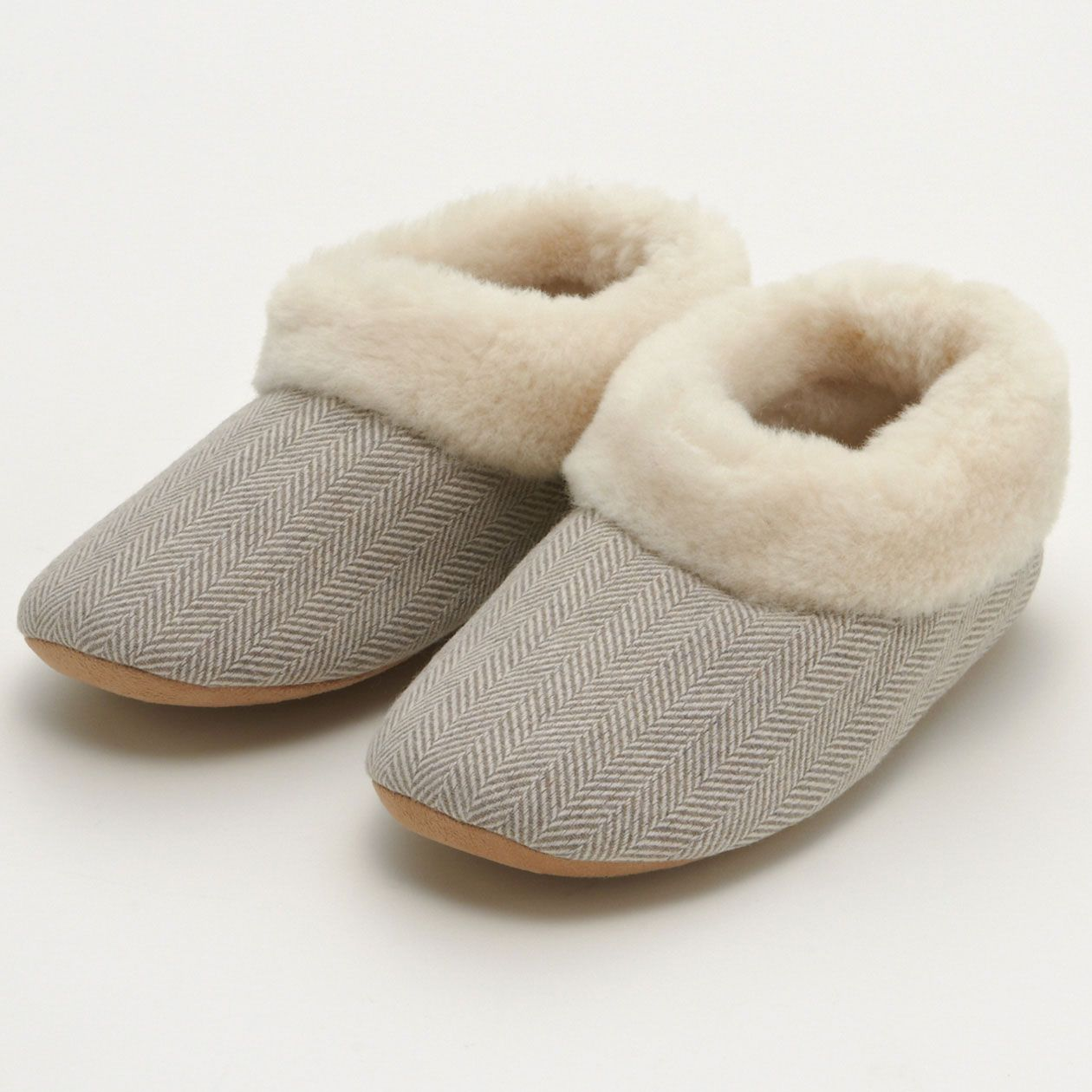 Herringbone Pattern Slippers - Beige MUJI