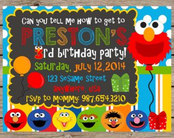 Sesame Street First Birthday Invitations