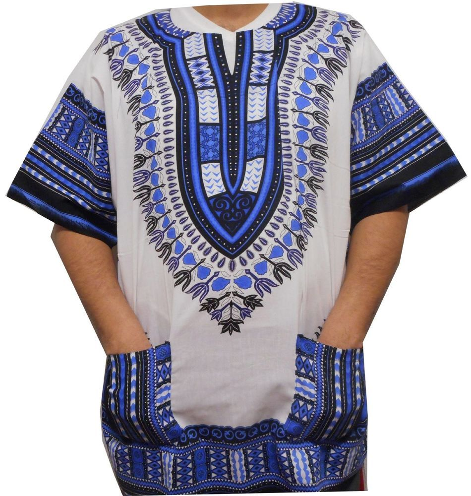 Doufine Mens Dashiki African Print Oversized Batik Tops Casual T-Shirts