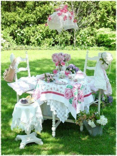 Tea Party - vintage tablecloths