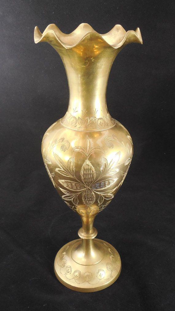 Large Brass Vase 12 With Ruffled Rim Vintage Brass Etsy Brass Vase Vase Etched Designs