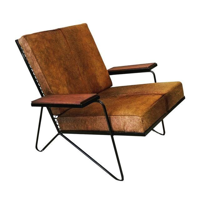 Super Vintage Mid Century Modern Cowhide Lounge Chair Adg Evergreenethics Interior Chair Design Evergreenethicsorg