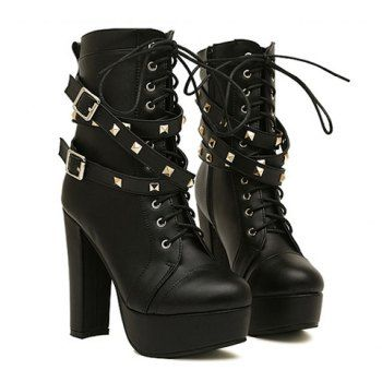 Womens Punk Lace Ankle Boots Casual Bow High Heel Lace Up Buckle Shoes High Top