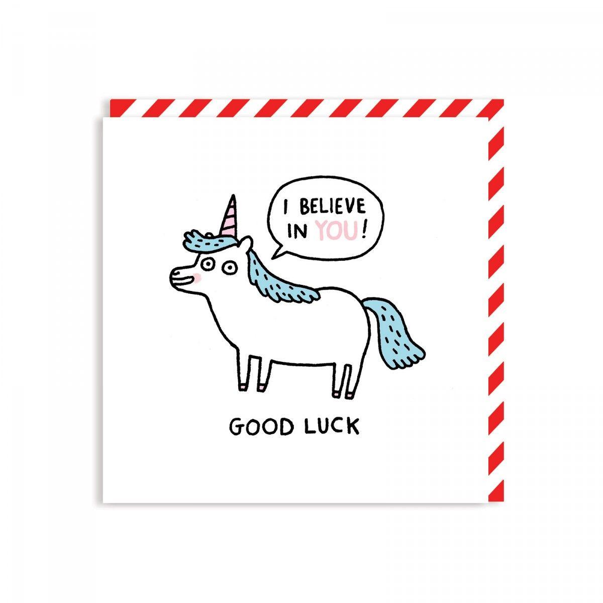 Good Luck Unicorn Square Greeting Card