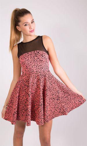 Leopard Print Mesh Insert Skater Dress£10.99 http://hiddenfashion.com/new-in/new-in-clothing/womens-ladies-textured-leoapard-print-mesh-insert-skater-dresses.html #texture #mesh #panel #insert #skater #dress