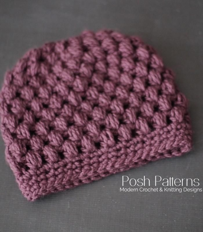 Puff Stitch Crochet Messy Bun Hat Pattern #messybunhat