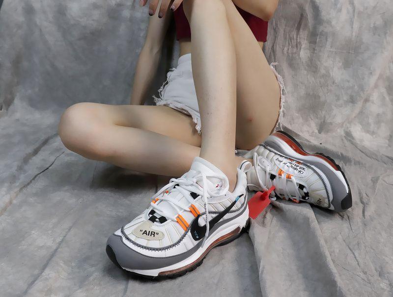 b44e95faa3f696 Cheap OFF-WHITE X Nike Air Max 98 Retro Sport Full-palm Cushion Running  Shoes White Grey Orange AJ6302-026