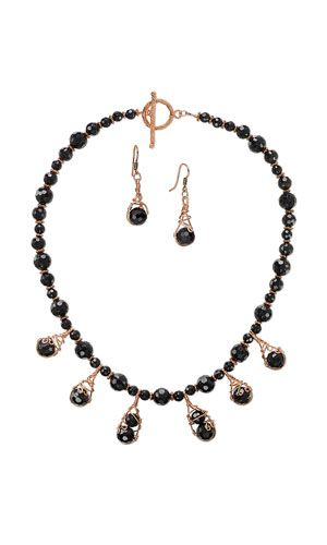 Single-Strand Necklace and Earring Set with Acrylic Beads, Shiny Copper Beads and Wirework