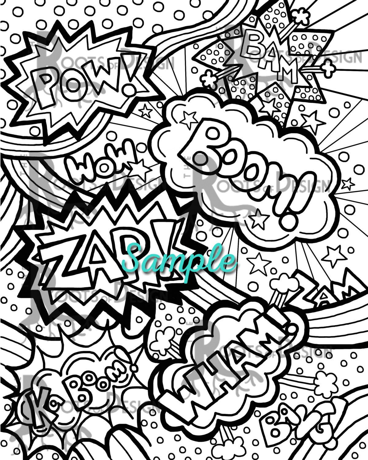 - INSTANT DOWNLOAD Coloring Page - Comic Book Words/ Pop Art Print