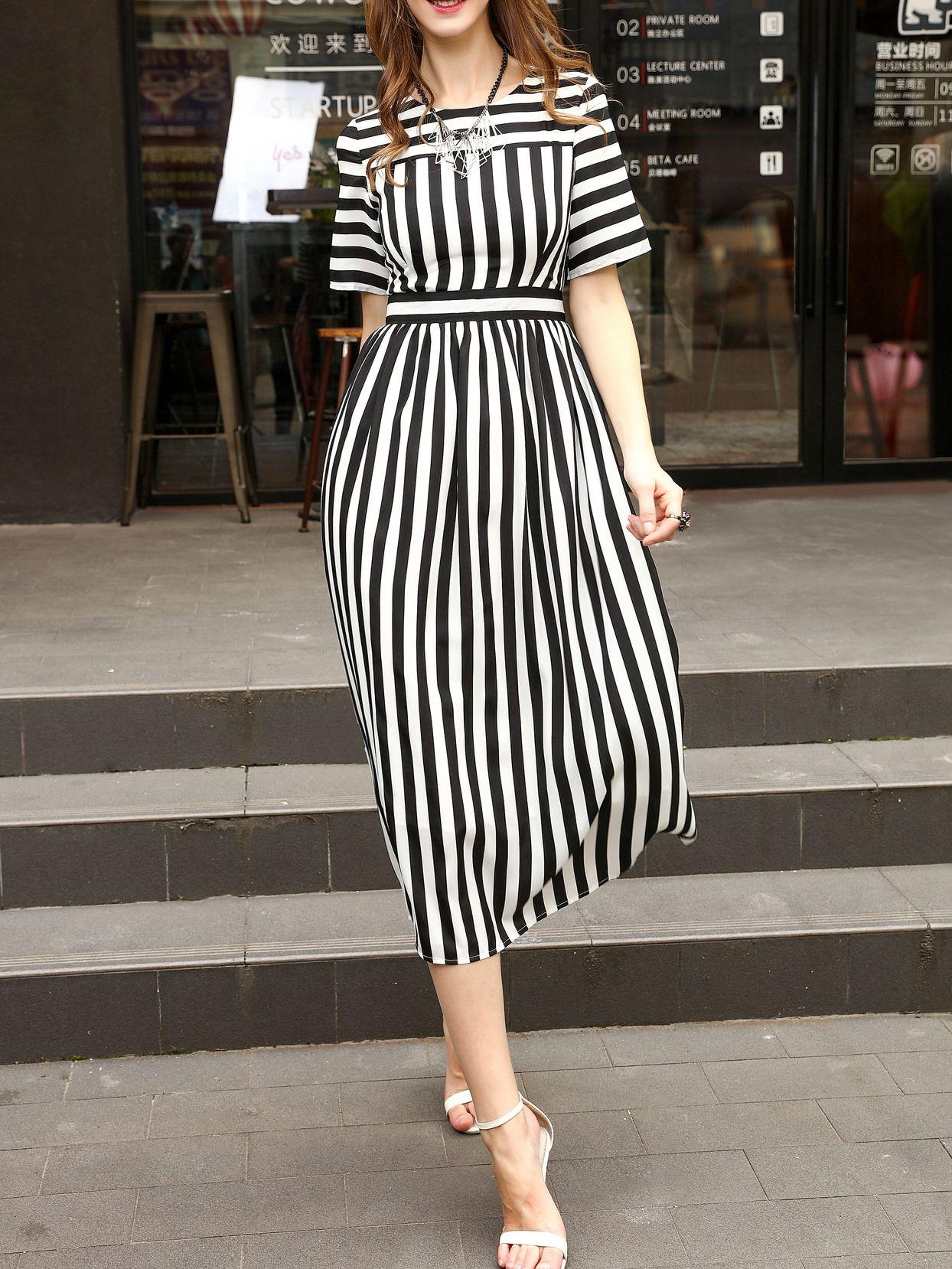 White And Black Striped A Line Dress Shein Sheinside A Line Dress Fashion Striped Casual Dresses [ 1658 x 1244 Pixel ]