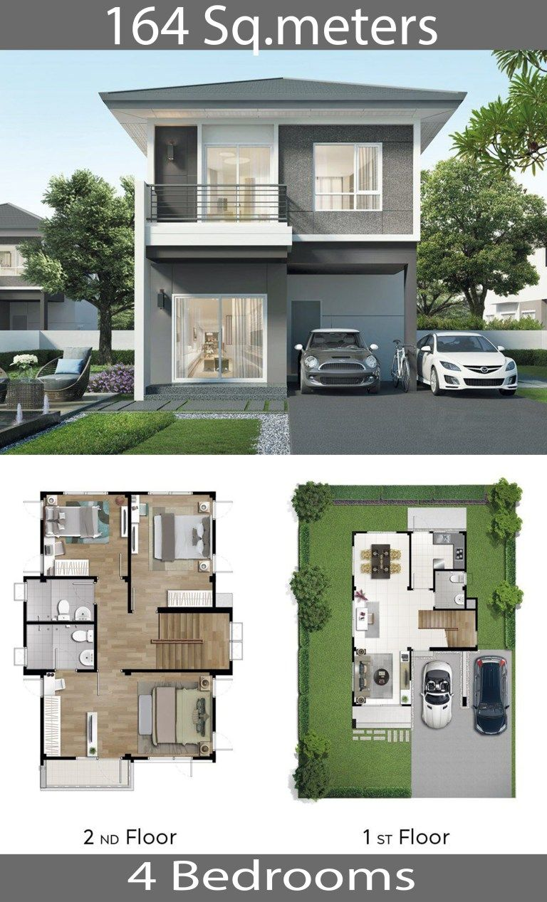 2 Story House 164 Sq M With 4 Bedrooms Home Ideas In 2020 Model House Plan House Plan Gallery Two Story House Design