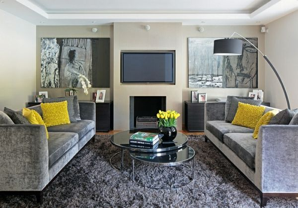 Wohnzimmer Gelb ~ Wohnzimmer farbgestaltung u grau und gelb wohnzimmer