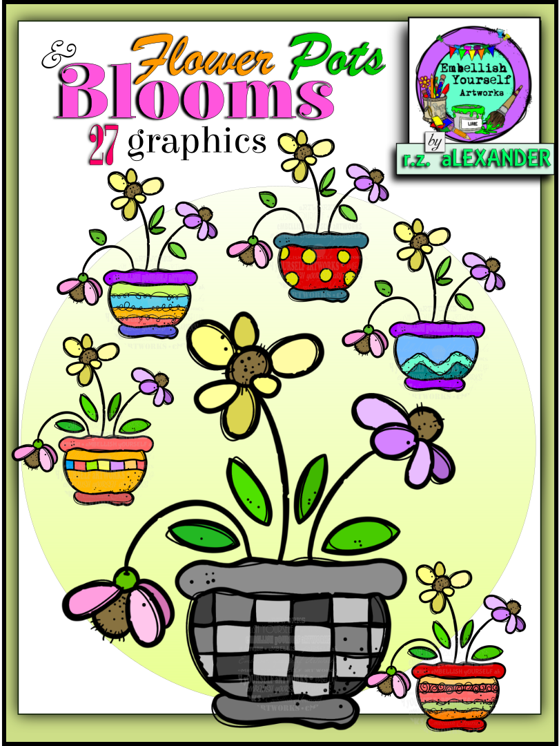 Fun And Colorful Spring Flowers Clipart In Doodle Type Pots Created