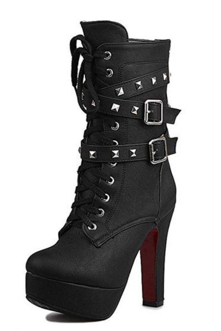 3bb467860046 Odetina Women s Sexy Lace-up Zipper Buckle Strap Chunky High Heel Platform  Mid Calf Punk Boots with Rivet Stud