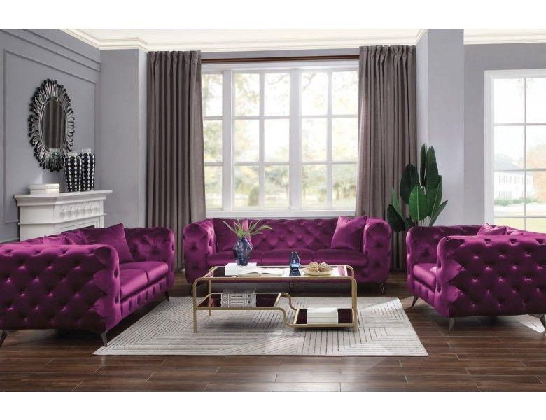 Zenon Purple Fabric Chesterfield Sofa Purple Living Room Purple Living Room Furniture 3 Piece Living Room Set