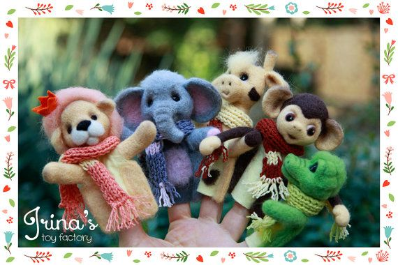 "Finger Theatre ""Limpopo"" (collection of 5 toys + gift box) dry felting, wool"