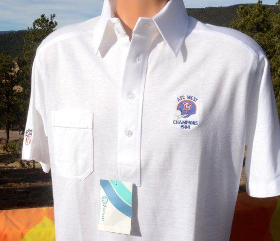 b8101f4d 80s vintage polo shirt denver BRONCOS 1984 nfl football new tags Large  Medium nwt