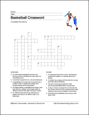 Learn About Basketball With Free Basketball Printables Free Basketball Crossword Sports Crossword
