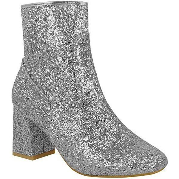 Damen Glitzer Blockabsatz Niedriger Absatz Stiefeletten Chelsea Party Schuhe