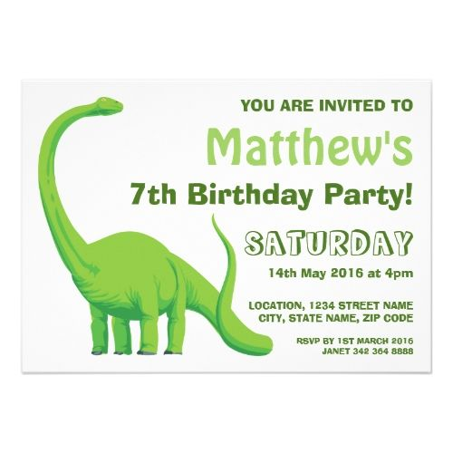Dinosaur Green large Personalized Birthday Party Card
