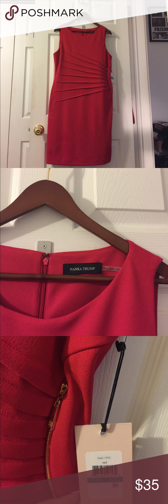 Ivanka Trump red bodycon formal zip sheeth dress Ivanka Trump red bodycon formal zip sheeth dress. Brand-new with tags, NWT formal red zipper dress with gold hardware. Perfect for for formal event, wedding guest or girls night out. Gorgeous💋💄, slimming and form fitting dress. I love reasonable offers, bundle and save! Ivanka Trump Dresses