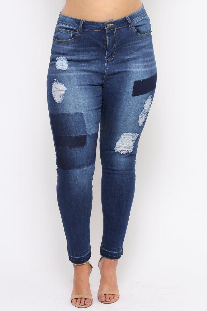 c799e3b1c2e Destroyed Patchwork Color Blocked Ankle Plus Size Jeans