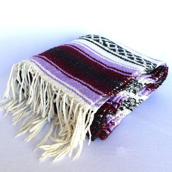 Vintage PURPLE BOHO BLANKET/ Mexican Woven Blanket