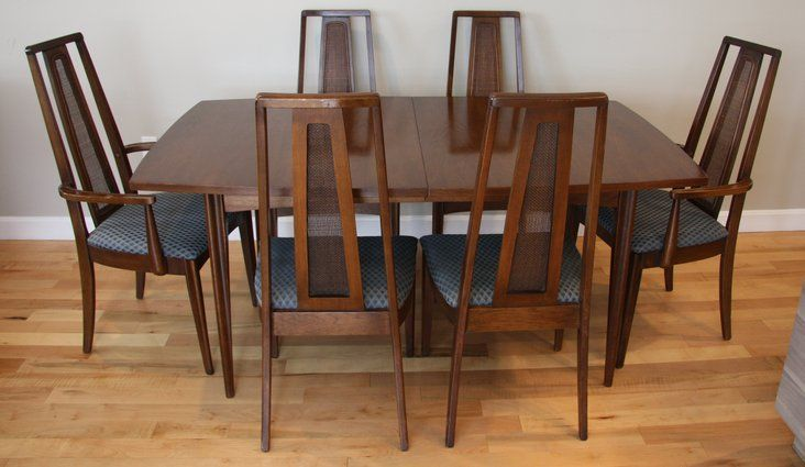 Vintage Broyhill Walnut Dining Set W Six Chairs Mid Century