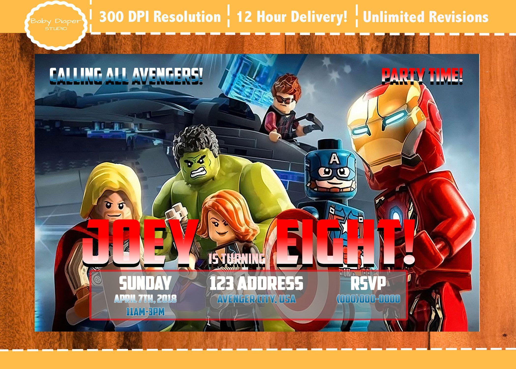Lego Avengers Birthday Invitation