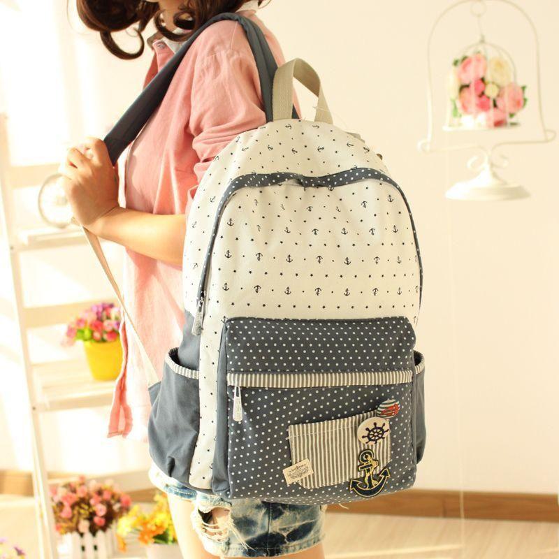 b8b24e37dd0d Anchor   Dot Printed Canvas Backpack - Canvas Love