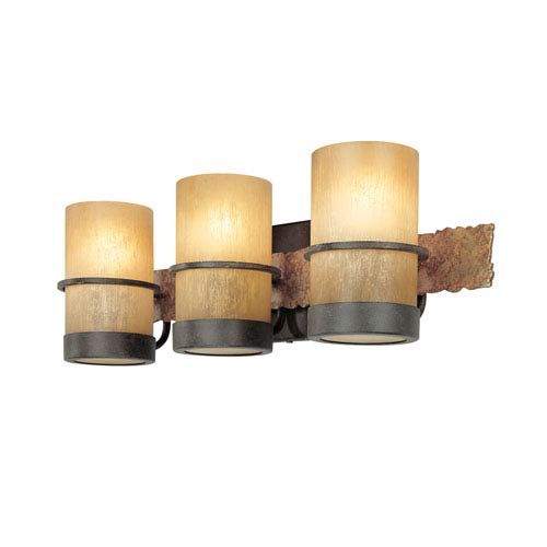 Photo of Troy B1843BB bamboo bathroom lamp with three lights made of bamboo bronze / natural slate, contemporary and modern | Bellacor