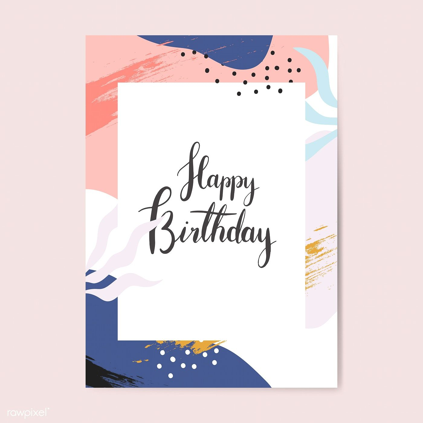 Colorful Memphis Design Happy Birthday Card Vector Free Image By