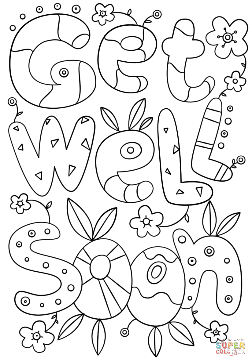 picture relating to Get Well Soon Printable Cards referred to as Obtain Perfectly Quickly Doodle coloring web site Totally free Printable Coloring