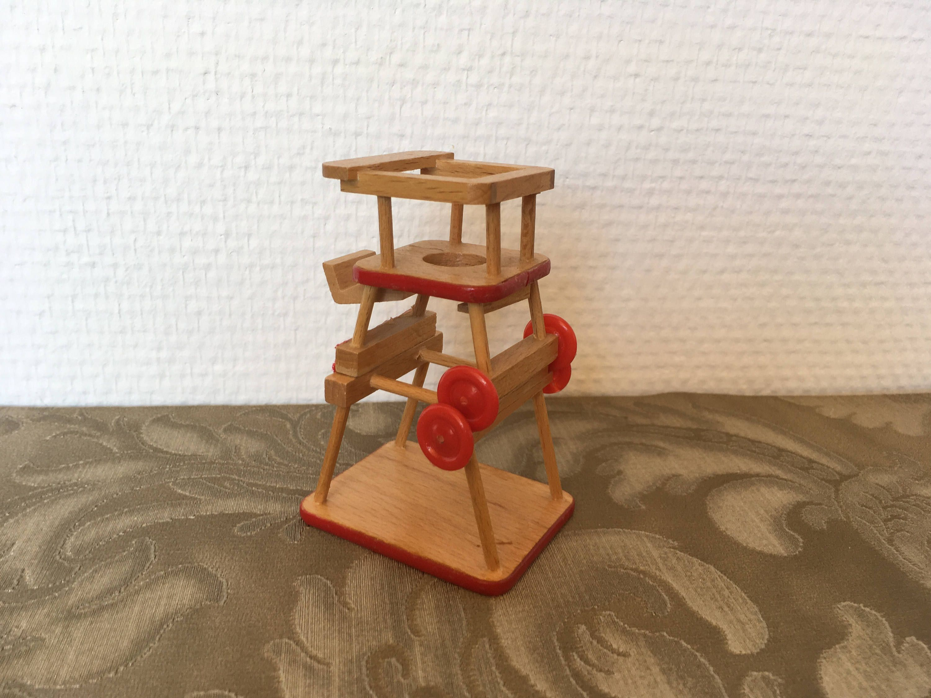vintage miniature high chair Bodo Hennig 70s german wooden toys