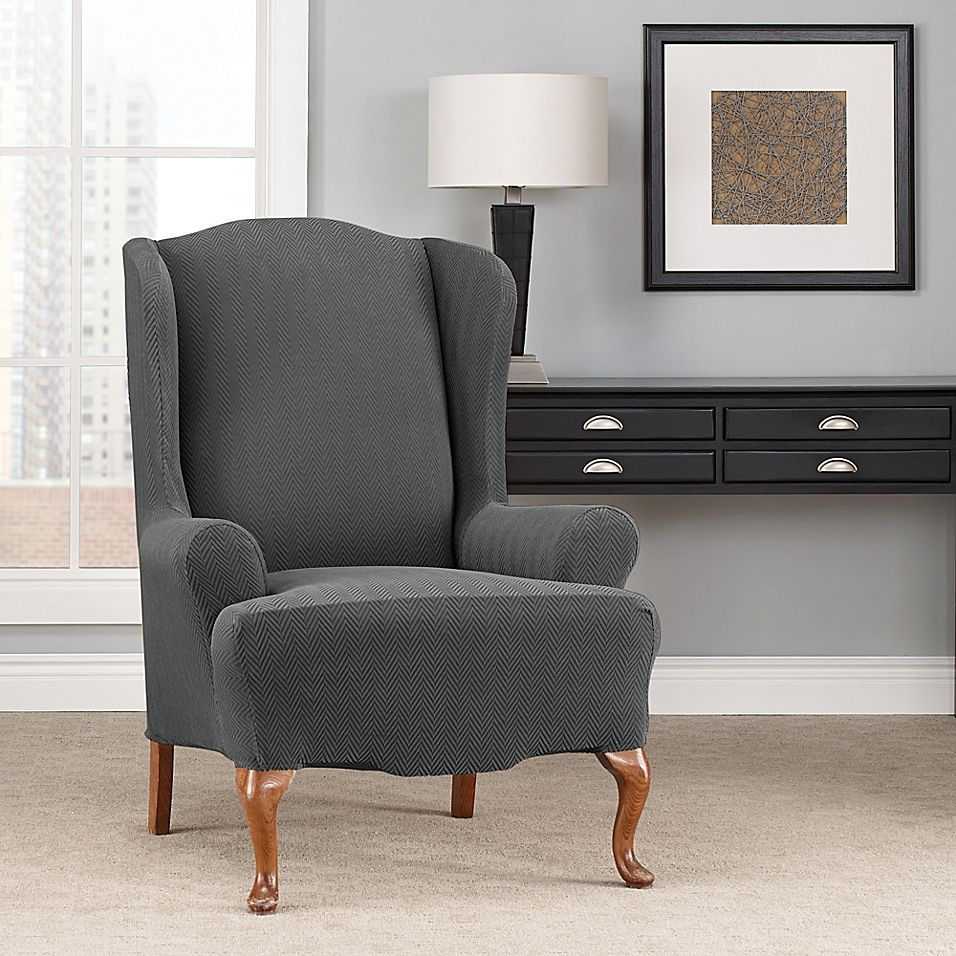 Sure Fit Modern Chevron Wingback Chair Slipcover grey
