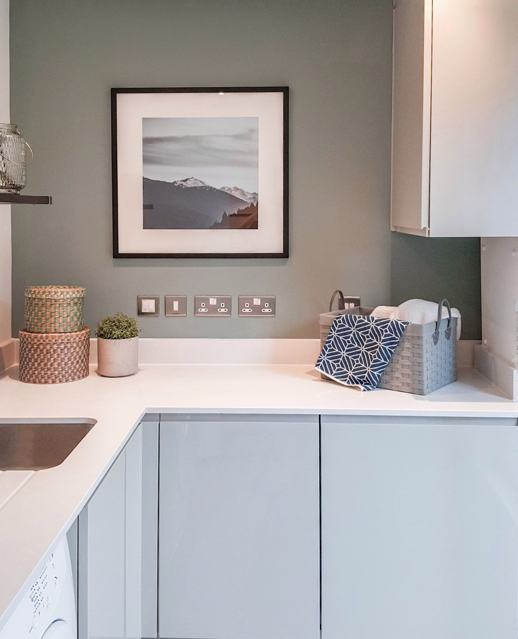 New Build Utility Laundry Room Sage Green Kitchen Walls Green Kitchen Walls Home Kitchens
