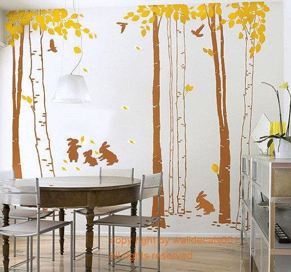 murals,wall decor,wall Art In the forest-set of 7 trees with rabbits Vinyl Wall Decal,wall Sticker,tree decal