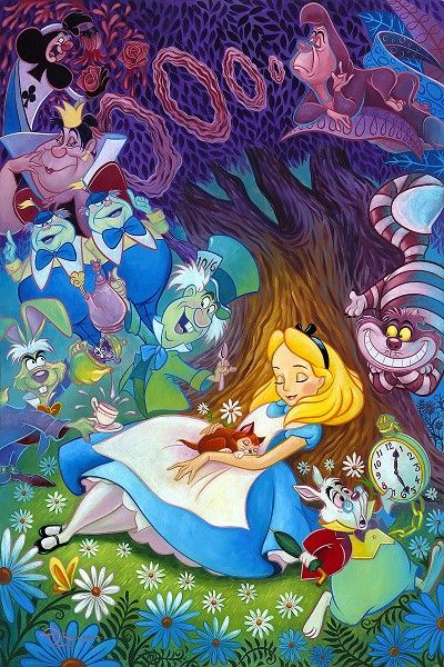 Tim Rogerson - Dreaming in Color From Alice In WonderlandHand-Embellished Giclee on Canvas
