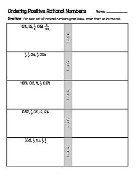 Ordering Positive Rational Numbers (decimals, fractions, percents ...