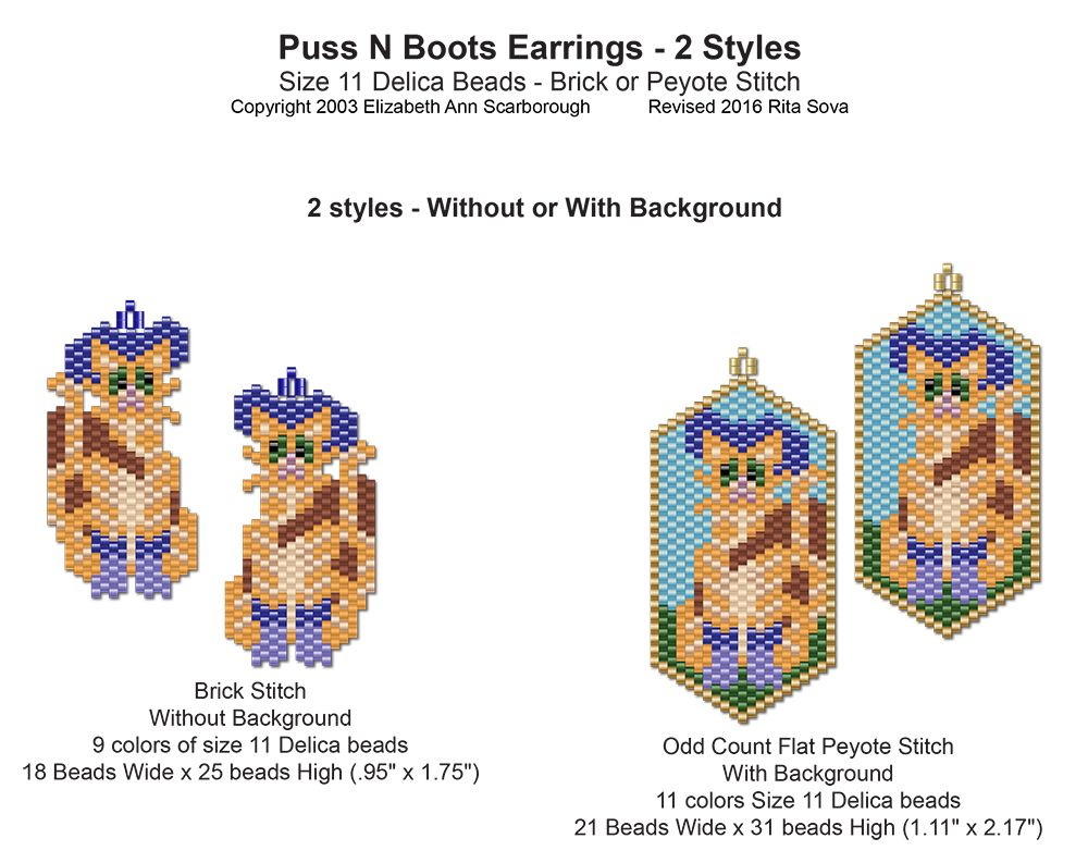 Puss N Boots Earrings - 2 Styles | Bead-Patterns.com | Beaded ...