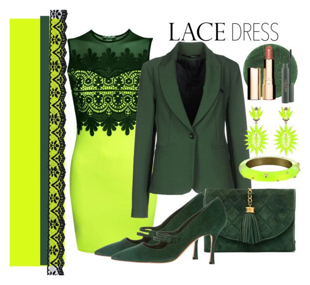 """Lace Dress"" by marionmeyer on Polyvore featuring Mode, Pilot, Annarita N., Manolo Blahnik, Chanel, Alexis Bittar, Lady Fox, Lipstick Queen, MAC Cosmetics und Clarins"